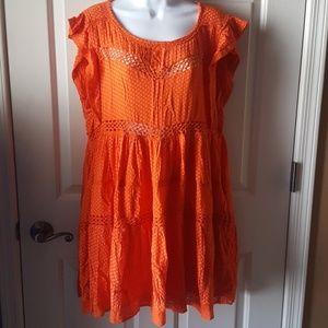 Free People Baby Doll Retro Dress Tangerine Sz M